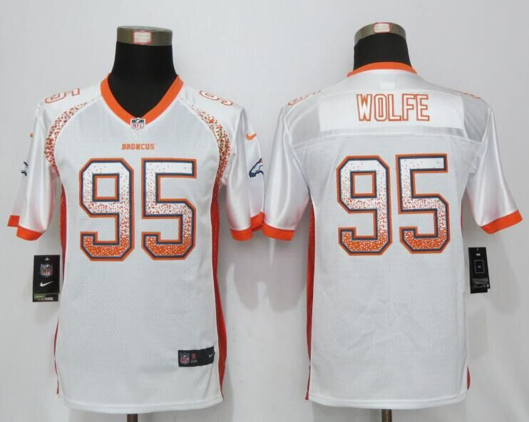 2016 Youth NEW Nike Denver Broncos 95 Wolfe Drift Fashion White Elite Jerseys