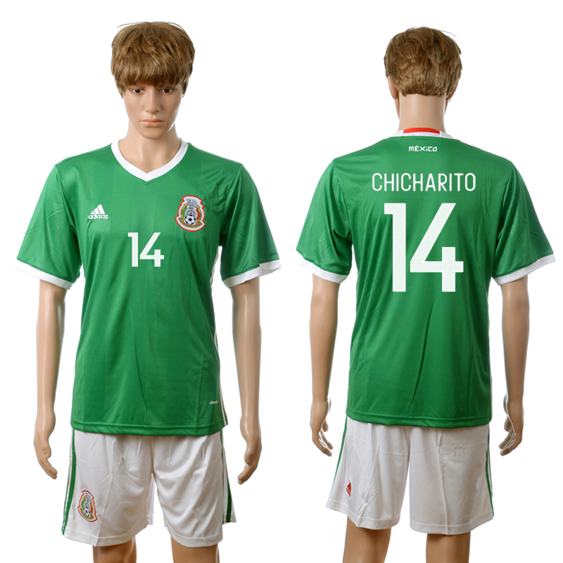 2016-2017 Mexico home 14 Chicharito green soccer jerseys