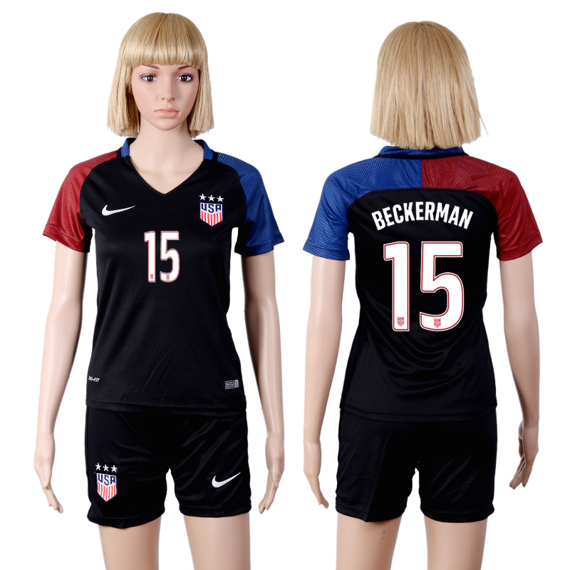 2016-2017 National USA away three stars 15 Black Womens Soccer Jersey