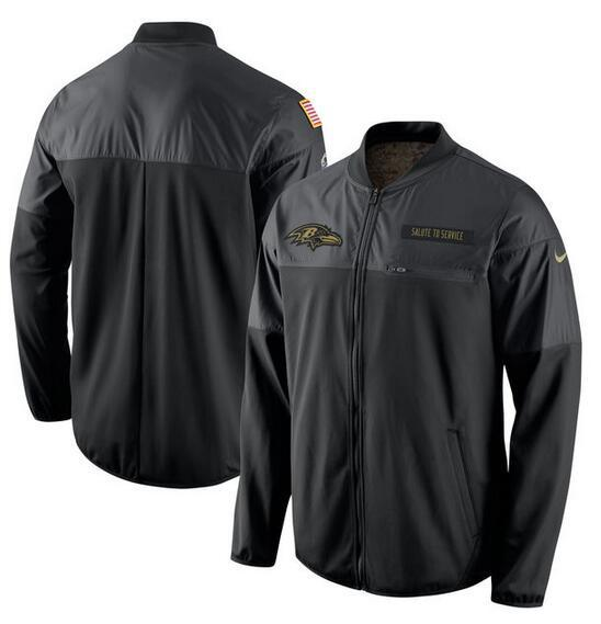 2017 Men Baltimore Ravens Nike Black Salute to Service Hybrid Performance Jacket