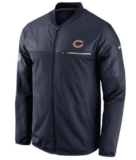 2017 Men Chicago Bears Nike Navy Elite Hybrid Performance Jacket