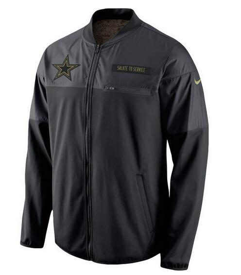 2017 Men Dallas Cowboys Nike Black Salute to Service Hybrid Performance Jacket