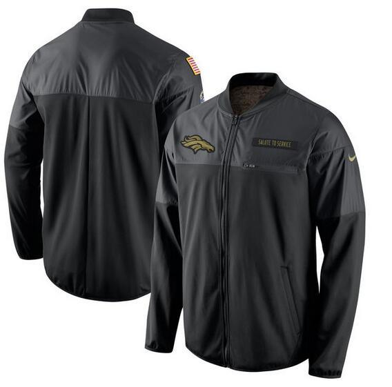 2017 Men Denver Broncos Nike Black Salute to Service Hybrid Performance Jacket