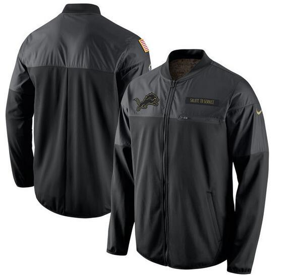 2017 Men Detroit Lions Nike Black Salute to Service Hybrid Performance Jacket