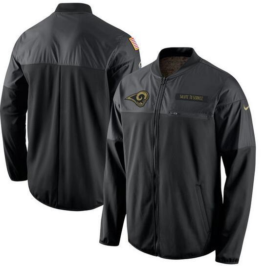 2017 Men Los Angeles Rams Nike Black Salute to Service Hybrid Performance Jacket