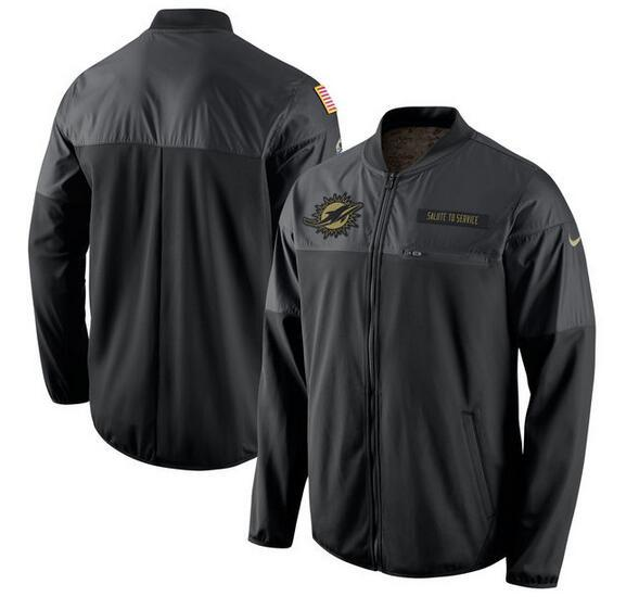 2017 Men Miami Dolphins Nike Black Salute to Service Hybrid Performance Jacket