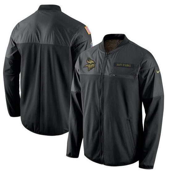 2017 Men Minnesota Vikings Nike Black Salute to Service Hybrid Performance Jacket