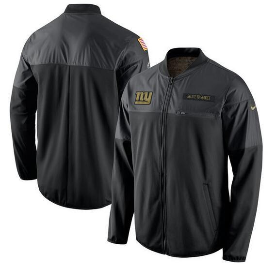 2017 Men New York Giants Nike Black Salute to Service Hybrid Performance Jacket