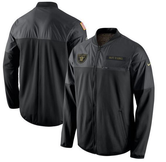 2017 Men Oakland Raiders Nike Black Salute to Service Hybrid Performance Jacket