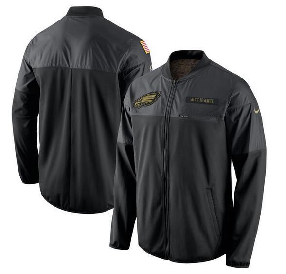 2017 Men Philadelphia Eagles Nike Black Salute to Service Hybrid Performance Jacket