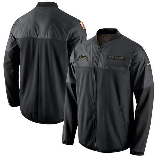 2017 Men San Diego Chargers Nike Black Salute to Service Hybrid Performance Jacket