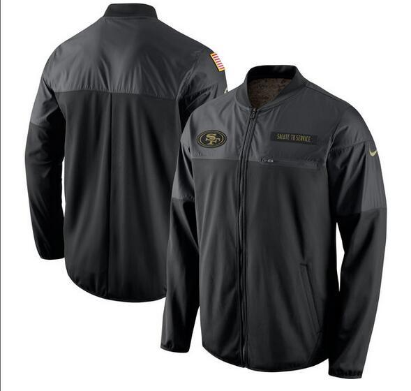 2017 Men San Francisco 49ers Nike Black Salute to Service Hybrid Performance Jacket