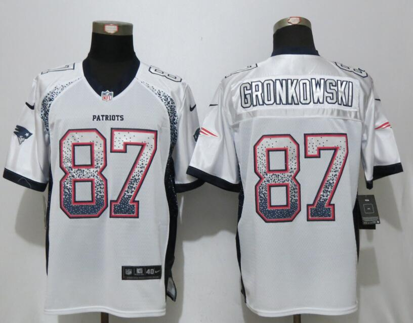 2017 New Nike New England Patriots 87 Gronkowski Drift Fashion White Elite Jerseys