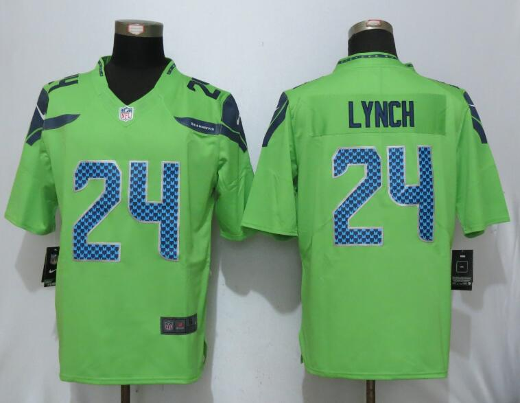 sale retailer 95184 ee033 2017 Nike Seattle Seahawks 24 Lynch Green Color Rush Limited ...