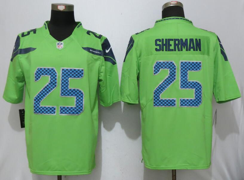 2017 Nike Seattle Seahawks 25 Sherman Green Color Rush Limited Jersey