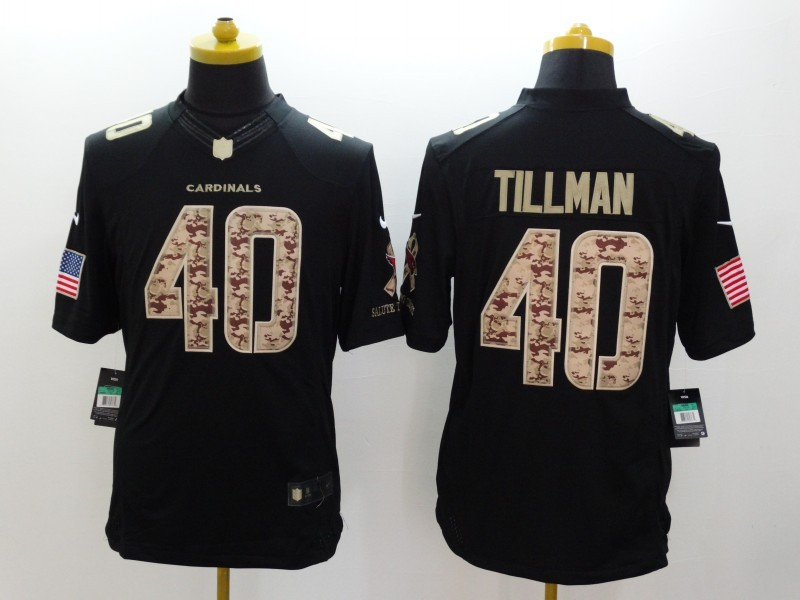 Arizona Cardicals 40 Tillman Nike Black Salute TO Service Jerseys