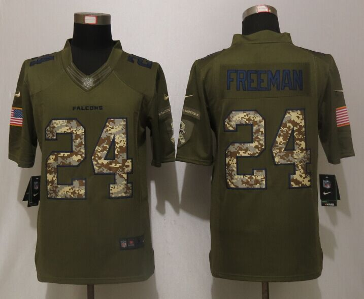 Atlanta Falcons 24 Freeman Green Salute To Service New Nike Limited Jersey