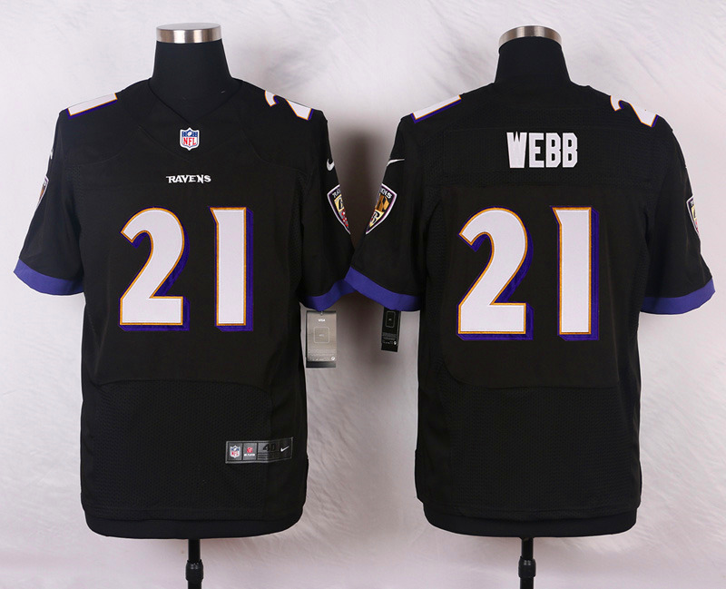 NFL Customize Baltimore Ravens 21 Webb Black Men Nike Elite Jerseys