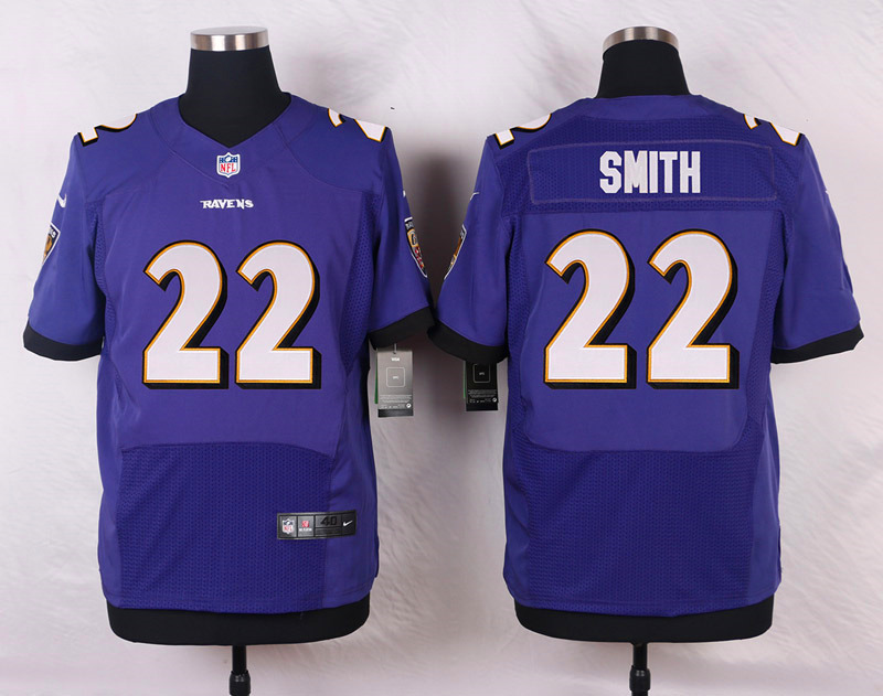 NFL Customize Baltimore Ravens 22 Smith Purple Men Nike Elite Jerseys