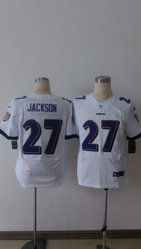 Baltimore Ravens 27 Jackson White Men Nike Elite Jerseys