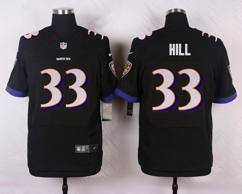 NFL Customize Baltimore Ravens 33 Hill Black Men Nike Elite Jerseys