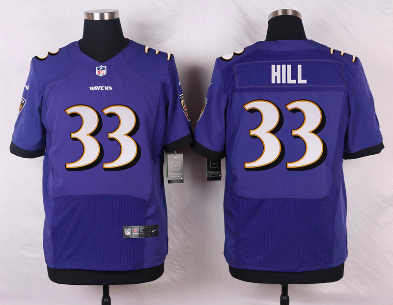 NFL Customize Baltimore Ravens 33 Hill Purple Men Nike Elite Jerseys