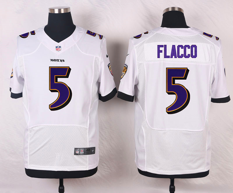 NFL Customize Baltimore Ravens 5 Flacco White Men Nike Elite Jerseys