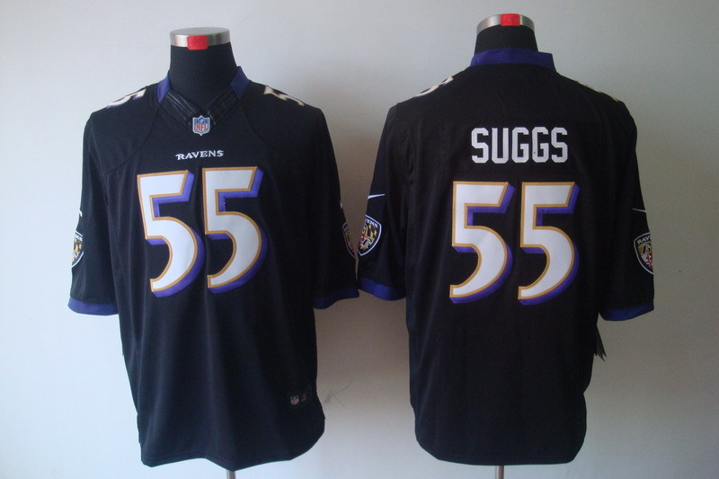 Baltimore Ravens 55 Suggs Black Nike Limited Jerseys.