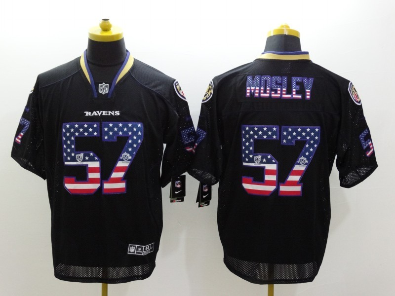 Baltimore Ravens 57 C.J. Mosley Black Nike USA Flag Fashion Elite Jerseys