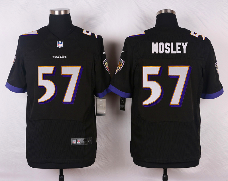 NFL Customize Baltimore Ravens 57 Mosley Black Men Nike Elite Jerseys