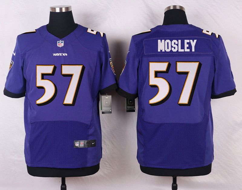NFL Customize Baltimore Ravens 57 Mosley Purple Men Nike Elite Jerseys