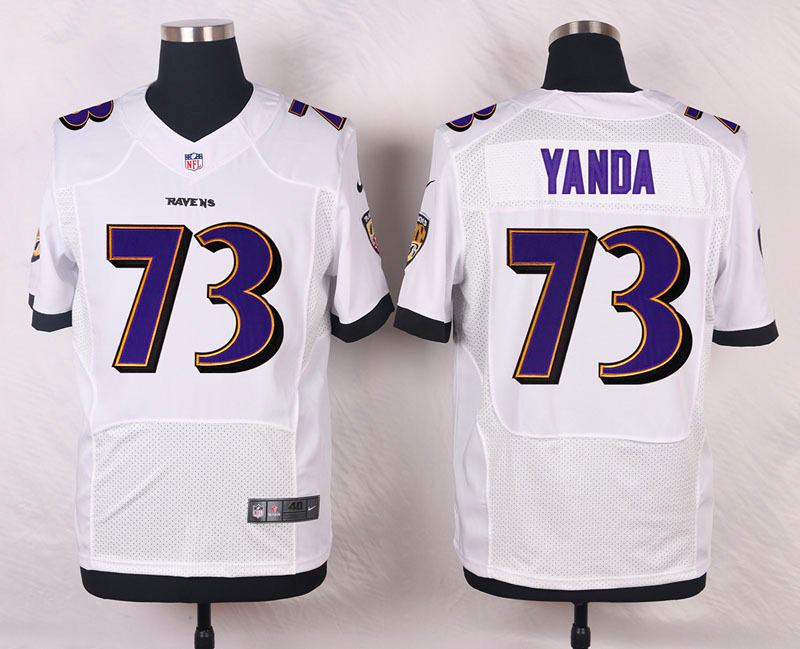 NFL Customize Baltimore Ravens 73 Yanda White Men Nike Elite Jerseys