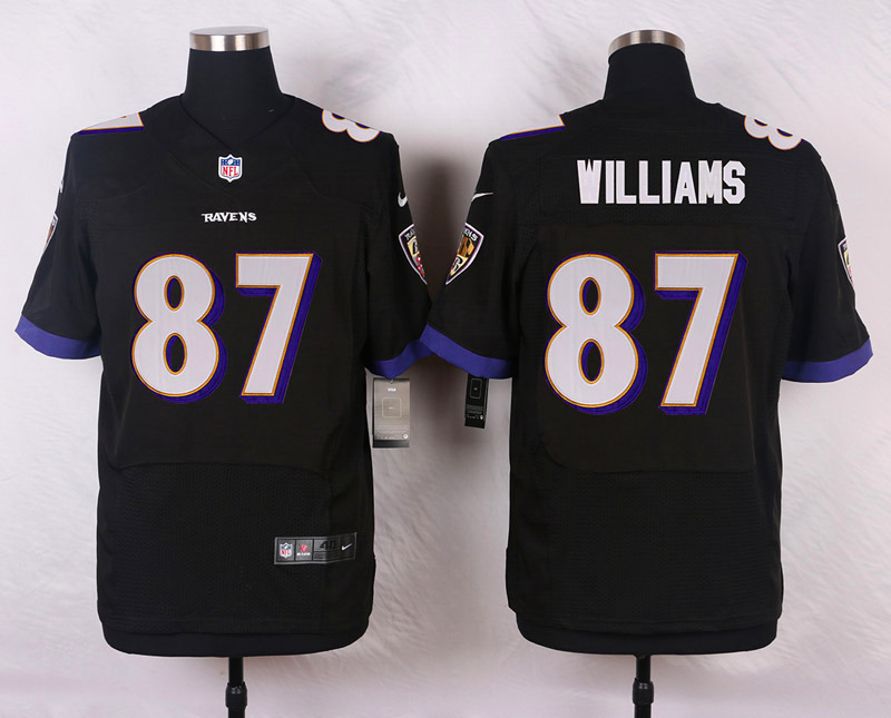 NFL Customize Baltimore Ravens 87 Willams Black Men Nike Elite Jerseys