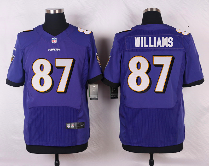 NFL Customize Baltimore Ravens 87 Willams Purple Men Nike Elite Jerseys