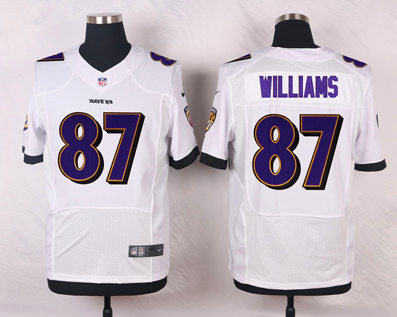 NFL Customize Baltimore Ravens 87 Willams White Men Nike Elite Jerseys