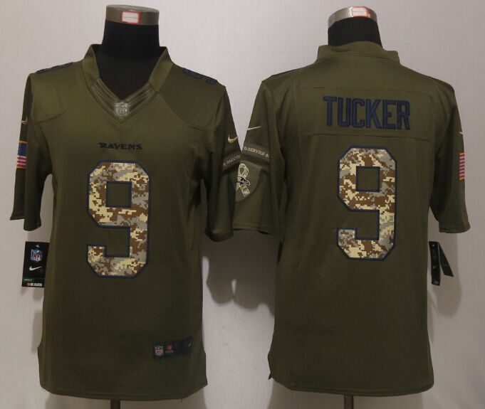 Baltimore Ravens 9 Tucker Green Salute To Service New Nike Limited Jersey.