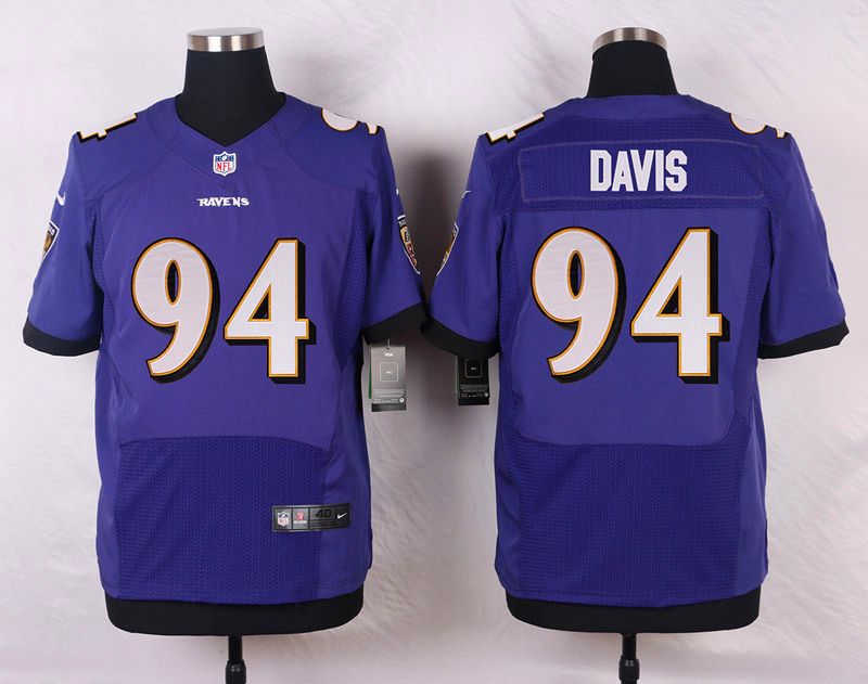 NFL Customize Baltimore Ravens 94 Davis Purple Men Nike Elite Jerseys