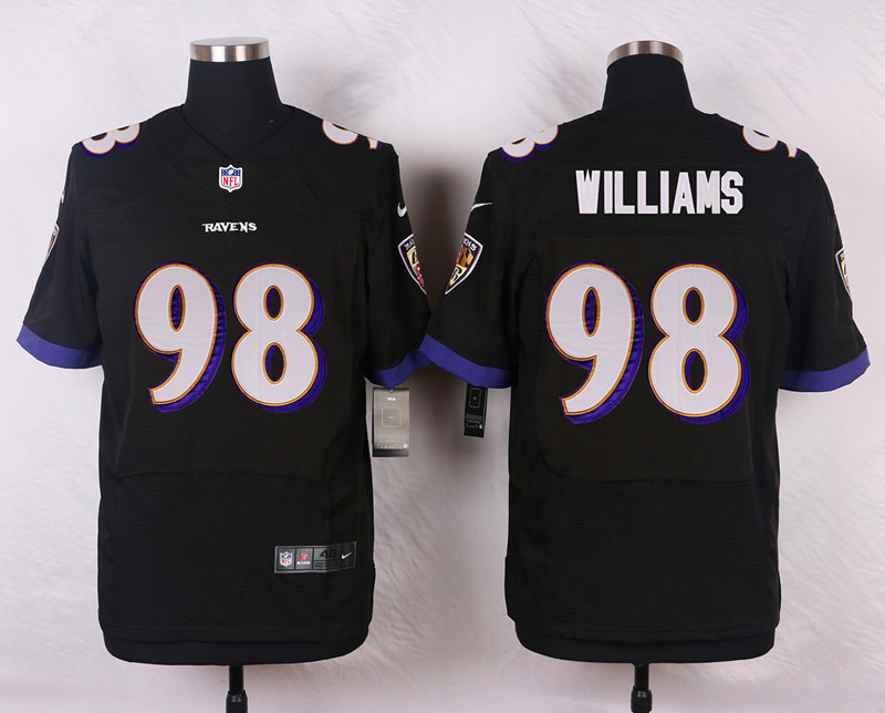 NFL Customize Baltimore Ravens 98 Williams Black Men Nike Elite Jerseys