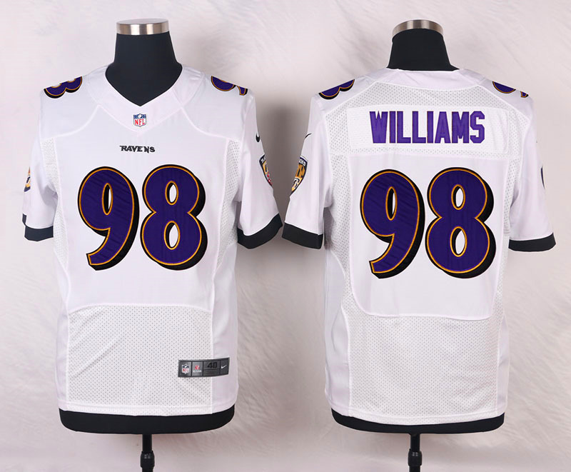 NFL Customize Baltimore Ravens 98 Williams White Men Nike Elite Jerseys