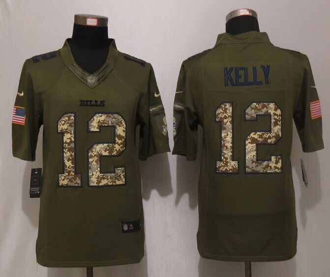 Buffalo Bills 12 Kelly Green New Nike Salute To Service Limited Jersey