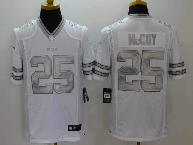 Buffalo Bills 25 McCoy Platinum White Nike Limited Jerseys