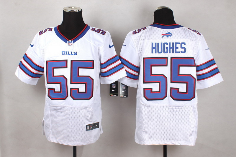 Buffalo Bills 55 Hughes White Men Nike Elite Jerseys