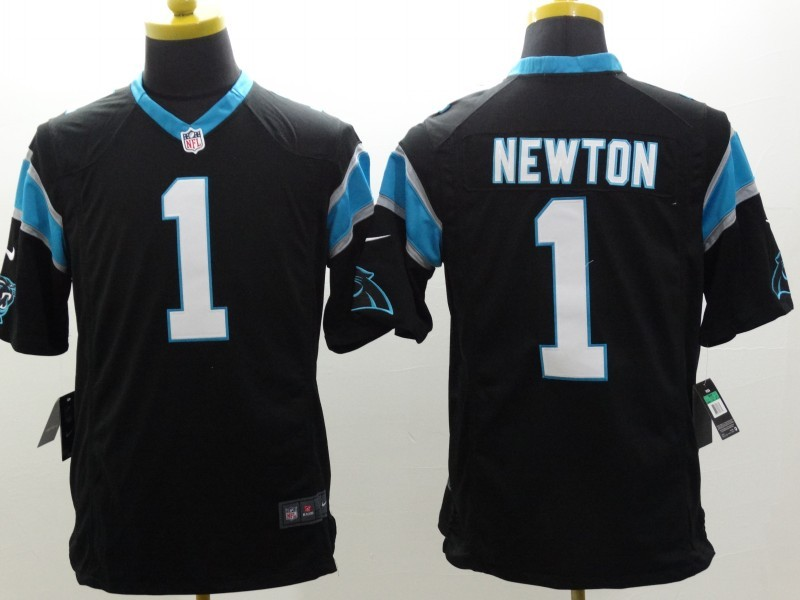 Carolina Panthers 1 Newton Black Nike Limited Jerseys
