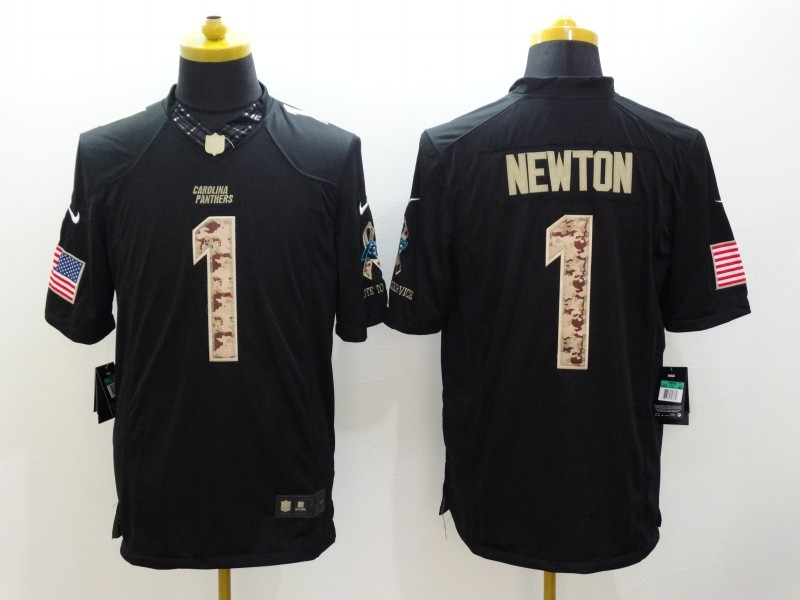 Carolina Panthers 1 Newton Black Nike Salute TO Service Jerseys