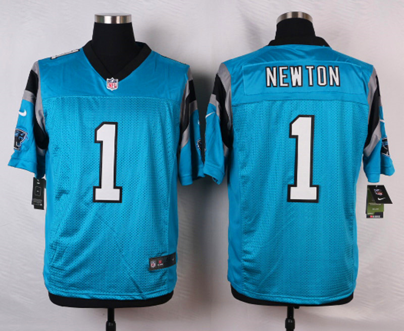 NFL Customize Carolina Panthers 1 Newton Blue Men Nike Elite Jerseys
