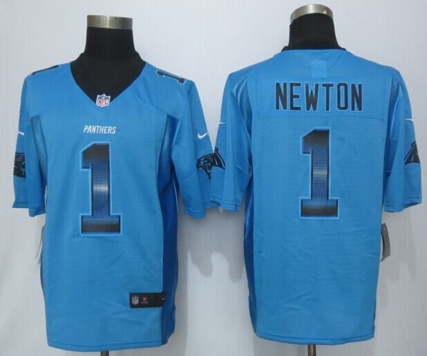 Carolina Panthers 1 Newton Pro Line Blue Fashion Strobe 2015 New Nike Jersey