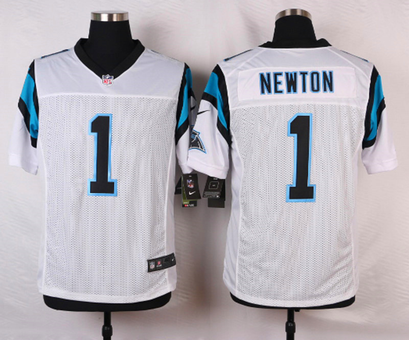 NFL Customize Carolina Panthers 1 Newton White Men Nike Elite Jerseys
