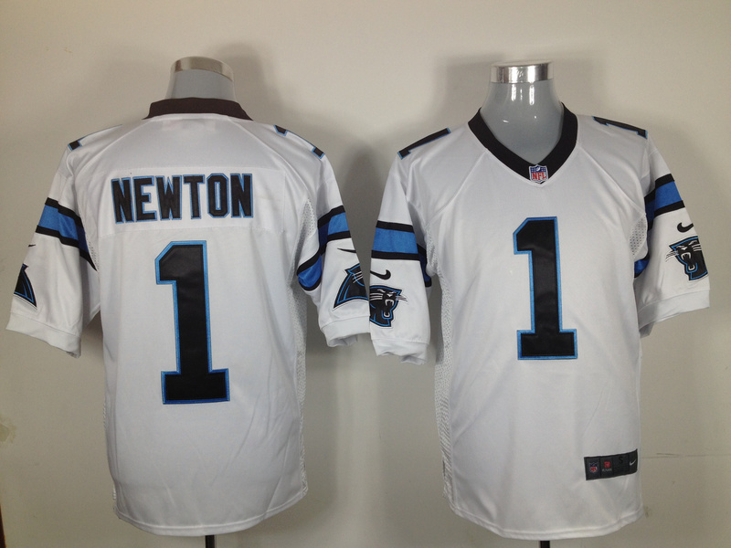 Carolina Panthers 1 Newton White Nike Game jerseys