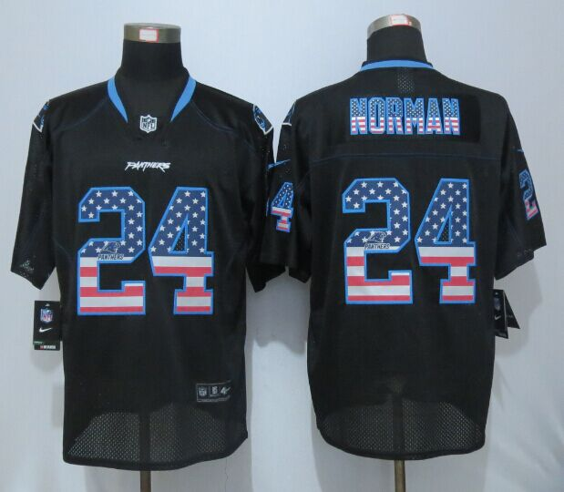 Carolina Panthers 24 Norman USA Flag Fashion Black New Nike Elite Jerseys.