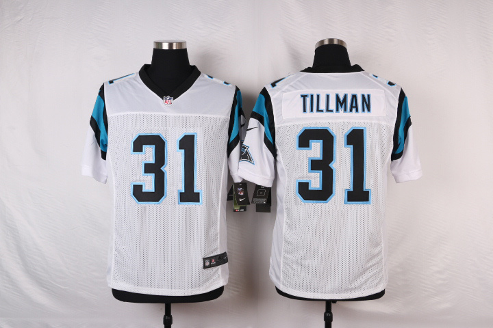 NFL Customize Carolina Panthers 31 Tiliman White Men Nike Elite Jerseys
